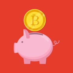 Cripto currency. Vector. Golden bitcoin sign icon flat network money symbol.