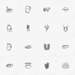 Bread & Milk line icon set with cow, jug and udder