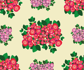Pattern of bouquets of red with juicy green leaves and tender forms