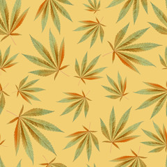 texture for design wallpaper. leaves on orange background. Ganja Marijuana Weed Seamless Pattern