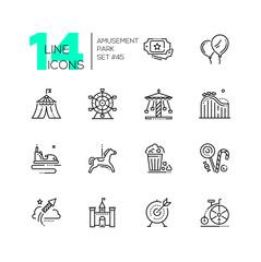 Amusement park - set of line design style icons