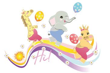 Vector  funny animals in cartoon style on the rainbow. Giraffe, elephant, hippo, with birthday balls.
