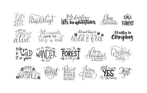 Set of adventure, outdoors and travel vector quotes. Nature and forest calligraphy collection.
