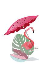 Cute flamingo under the umbrella.