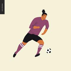 European football, soccer player - flat vector illustration of a young man wearing european football player equipment kicking a soccer ball