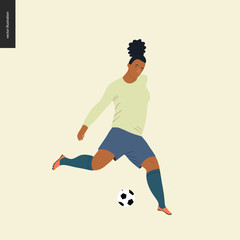 Womens European football, soccer player - flat vector illustration of a young woman wearing european football player equipment kicking a soccer ball