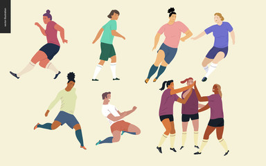 European football, soccer players set - flat vector illustration of a young women wearing european football player equipment kicking a soccer ball, running or standing on the green football field