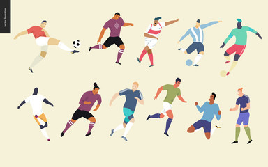 European football, soccer players set - flat vector illustration of a young men wearing european football player equipment kicking a soccer ball, running or standing on the green football field