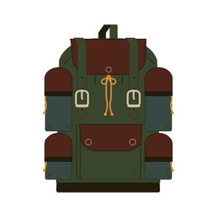 Travel bags, backpacks, cases, schoolbag flat isometric icons illustration. Set of illustrations for traveling, hiking, flying, resting, resting, study, vacation.