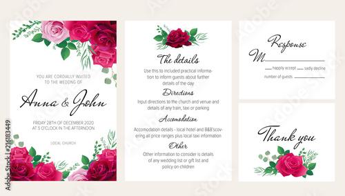 Elegant floral wedding invitation set with purple, dark red