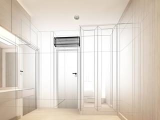 sketch design of interior living room,3d rendering