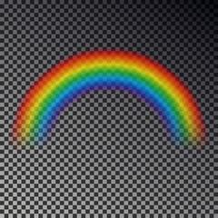 Rainbow arc isolated on checkered background. Transparent magic rainbow decoration. Realistic foreca