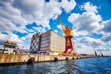 Harbor infrastructure seen from water, Szczecin, Poland.