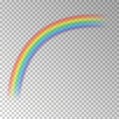 Rainbow arc isolated on checkered background. Transparent magic rainbow decoration. Realistic foreca