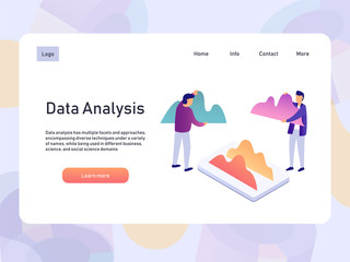 Data analysis landing page template with people. 3d isometric vector illustration.