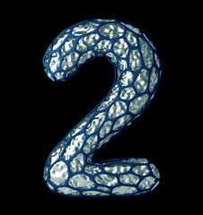 Number 2 two made of silver shining metallic 3D with blue cage isolated on white