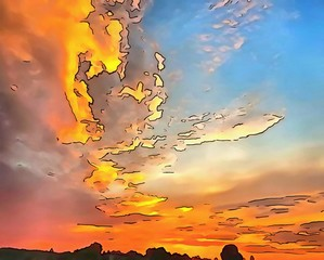 Hand drawing watercolor art on canvas. Artistic big print. Original modern painting. Acrylic dry brush background.  Charming view of the riddles of nature. Beautiful landscape. Summer sunset.