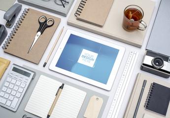 Grid Aligned Desk with Tablet Mockup