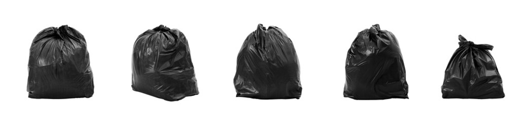 Collection of Garbage bag different composition, isolated on white background.