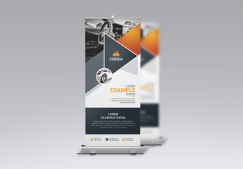 Business Roll-Up Banner Layout with Automobile Illustration