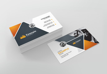 Business Card Layout with Automobile Illustration