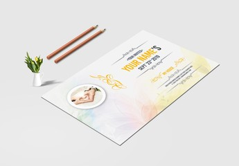 Postcard Invitation Layout with Yellow Accents
