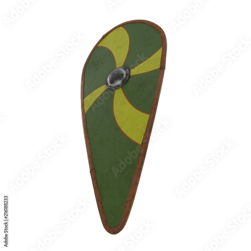 Norman Kite Shield On White 3d Illustration Stock Photo And
