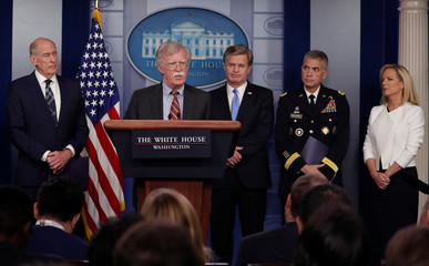 U.S. national security, intelligence and law enforcement officials give briefing at White House in Washington