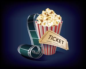 Cinema Vintage with film strip, popcorn and movie ticket. Blue background, vector illustration.