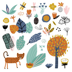 Cute set of abstract flowers and tripical plants. Vector illustration. Abstract tropical plants.