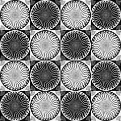 Seamless pattern ornament with abstract spirals, black and white vector image.