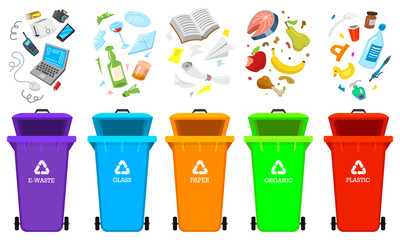 Recycling garbage elements. Bag or containers or cans for different trashes. Sorting and Utilize food waste. Ecology symbol. Segregation Separation and Industry management concept. disposal refuse bin
