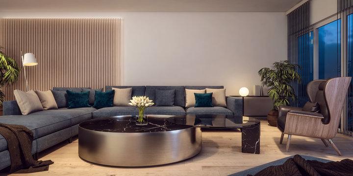 Modern interior design of Italian style living room, contemporary, luxury, night scene