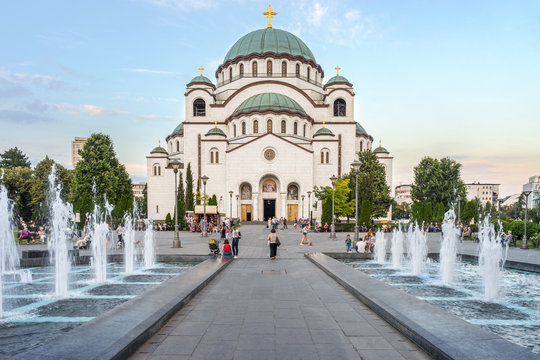 SERBIA, BELGRADE - JULY 04, 2018: View on square with fountains and Saint Sava cathedral