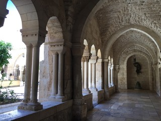 View of the arches in the temple Church of Nativity in Bethlehem, Palestine. June 27, 2017