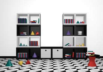 modernes Wohnen: Regal mit Dekorationen in schwarz weiß aus Vorderansicht. 3d render