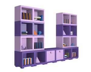 modernes Wandregal in violetten Farbtönen aus Seitenansicht. 3d render