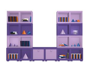 modernes Wandregal in violetten Farbtönen. 3d render