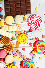 Canvas Prints Candy candies with jelly and sugar. colorful array of different childs sweets and treats