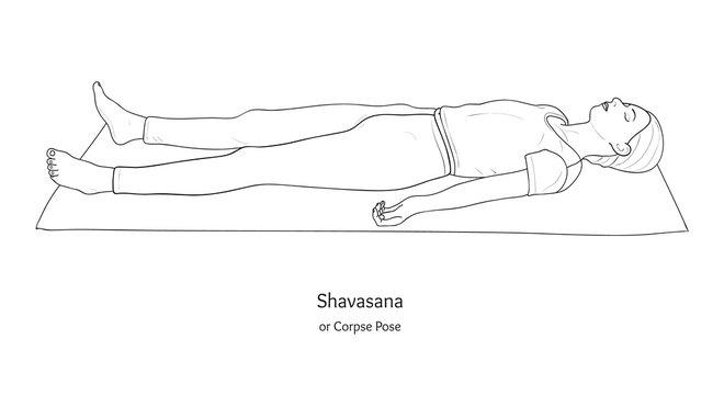 Shavasana or Corpse Pose. Yoga Practice. Vector.