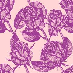 flowers seamless pattern. Hand drawn ink illustration. Wallpaper or fabric design.