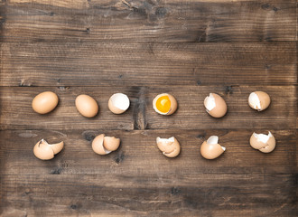 Raw eggs wooden background Ingredients food