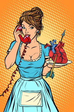 love heart arrow Delivery. Hotel service. Waitress