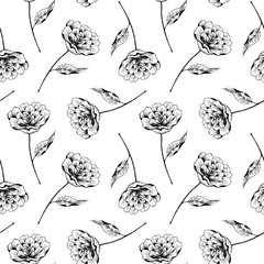 Seamless pattern with flower and leaf on white backround. Floral texture with peonies. Hand drawn ink illustration in line art style. Print for fabric, textile, wallpaper