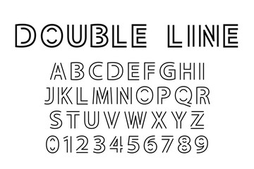 Алфавит и шрифт из двойной линии. Современная актуальная векторная иллюстрация в стиле лайн арт.