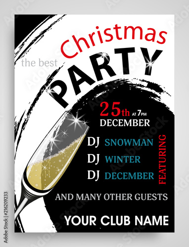 christmas party invitation modern vertical template with champagne wineglass new year background vector