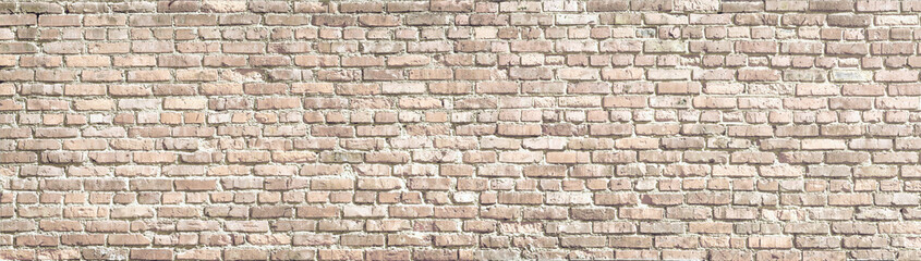 White wash old brick wall panorama.