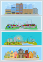 Cityscape vector urban city landscape with buildings and houses in the street of town downcity set illustration
