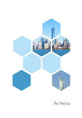 Hexagon shapes with New York City images. Geometric background