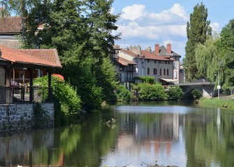 Aurillac and the Jordanne river, Cantal, France